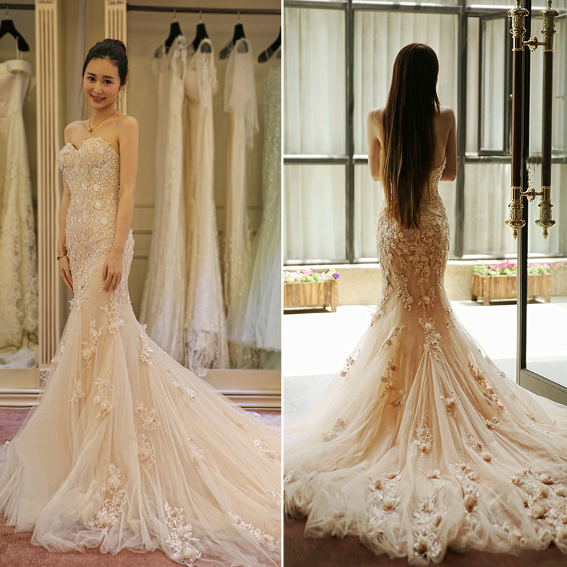 New Romantic Beading Lace Mermaid Luxury Wedding Dress