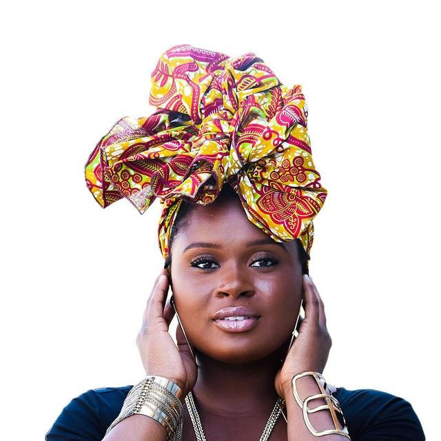 0eae4bbd667 Women s Big Flower African Headscarf Fashion Printed Headwear Cap Muslim Hat  Turban Women Hair Accessories Lady