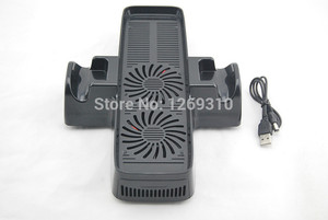 Image 2 - For xbox360 slim 3 In 1 cooling Dock Station Bottom stand fan for Xbox 360 slim console Free Shipping