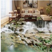 beibehang custom 3D outdoor waterfall floor tiles three - dimensional painting thick waterproof wear - resistant floor