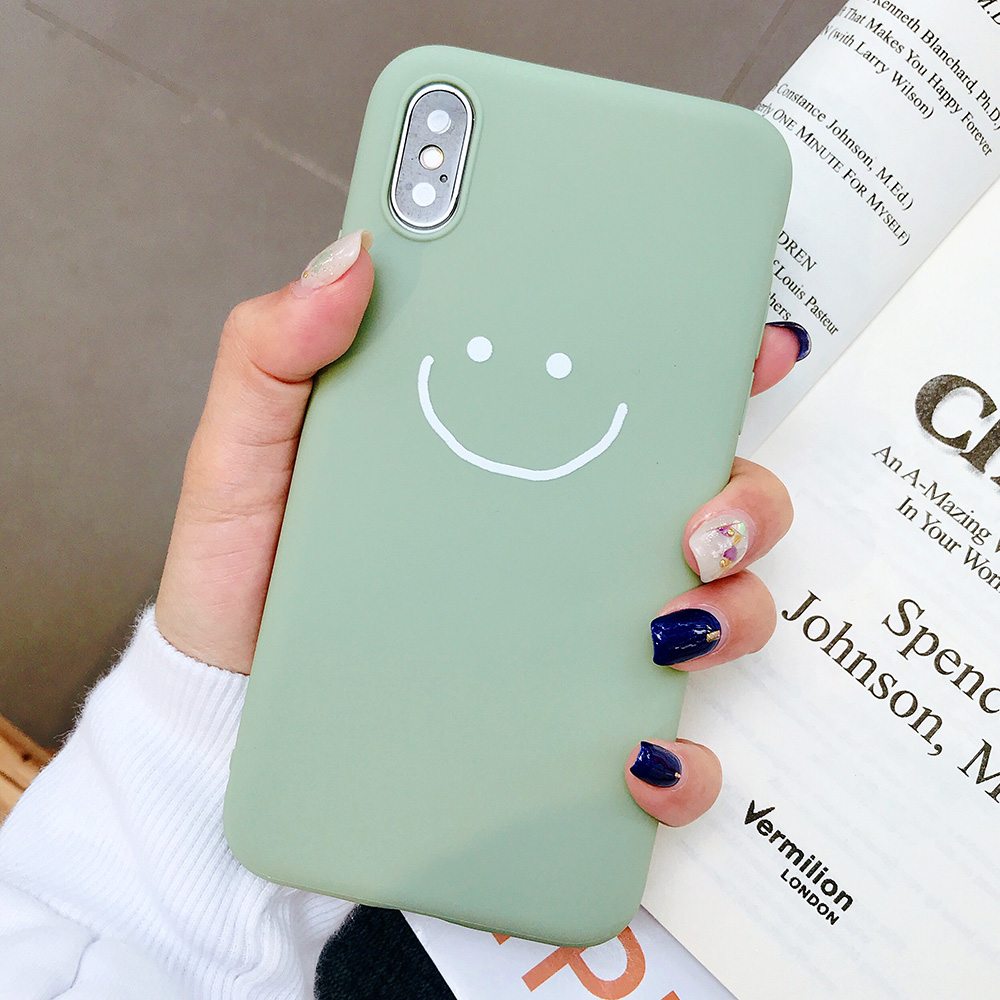 KIPX1083E_1_JONSNOW Phone Case for iPhone X XR XS Max Candy Color Smiley Pattern Soft Silicone Case for iPhone 7 8 6S 6 Plus Back Cover