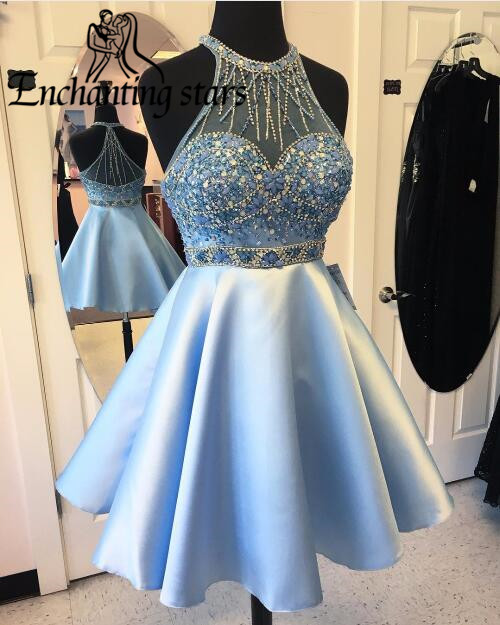 2017 Major Beading Short Cocktail Dresses Custom Made A-Line Women Homecoming Party Dress See Girls 8th Grade Prom Gowns - Molibridal_ Store store