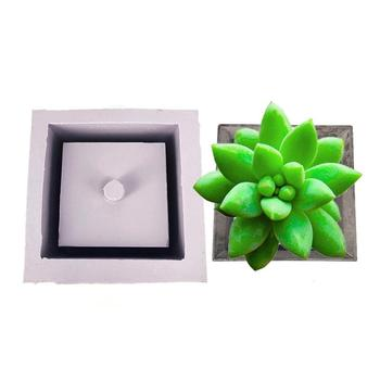 1pc Square Cement Flower Pot Silicone Mold Home Decoration Crafts