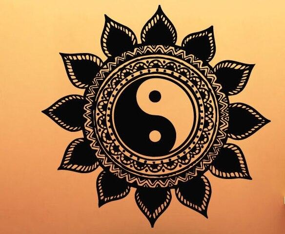yoga vinyl wall decal mandala sun flower indian yin yang