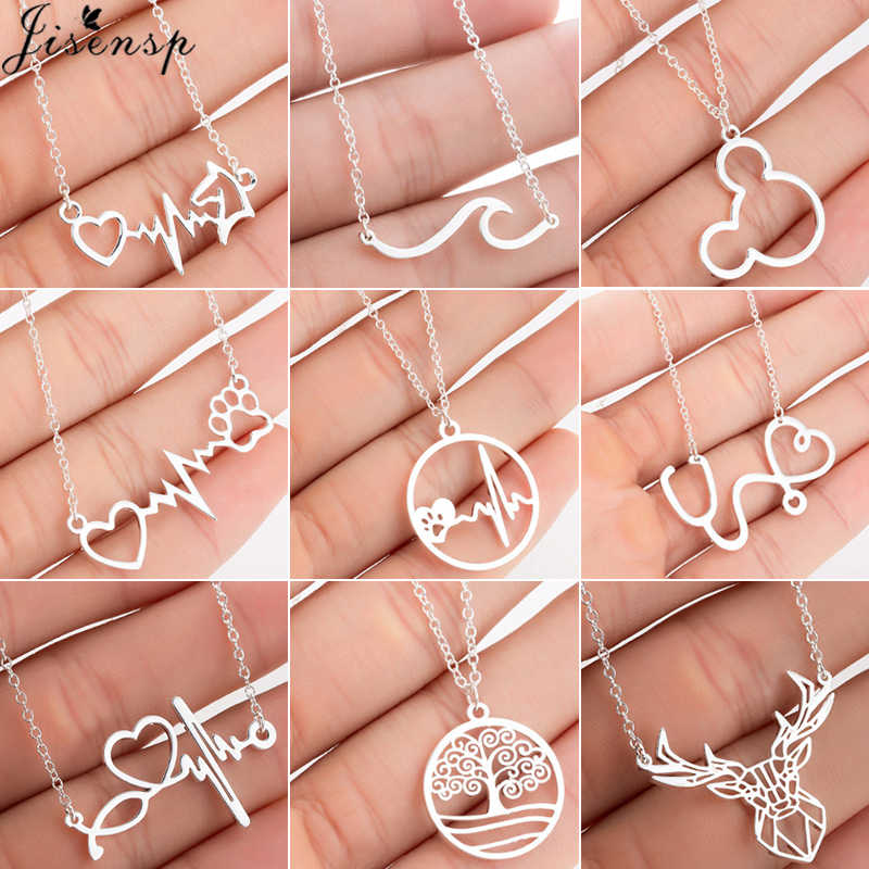 Jisensp Stainless Steel Mickey Necklace for Women Cute Animal Pendants Choker Necklace Heart Deer Paw Necklace Fashion Jewelry