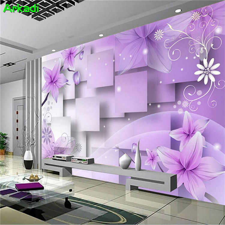 3D TV background wall paper living room wallpaper sofa bedroom video wall fantasy purple romantic floral.jpg q50