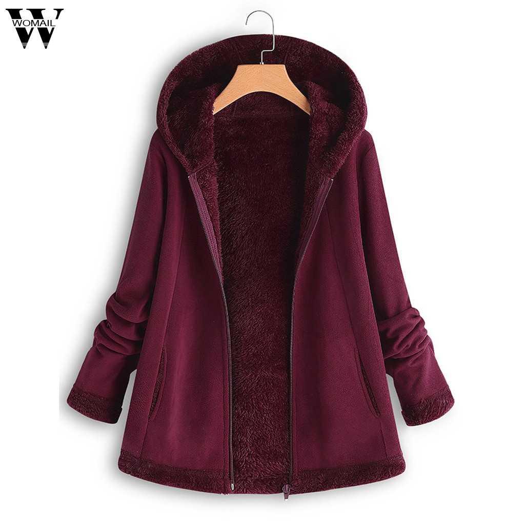 2019 Womens Winter Parka Fashion Pocket Zipper Jassen Voor Vrouwen Gewatteerd Jassen Warm Uitloper Met Kap Grote Pluche Hoodie Jas