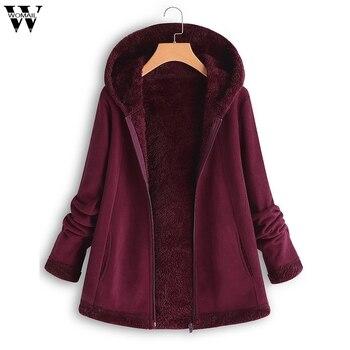 2019 Womens Winter Parkas Fashion Pocket Zipper Coats  For Women Wadded Jackets Warm Outwear With Hood Large Plush Hoodie Coat