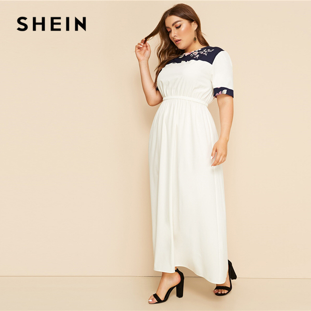 SHEIN Plus Size White Abaya Floral Print Panel Keyhole Back Maxi Dress Women 2019 Summer Autumn High Waist A Line Casual Dresses 3
