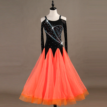 Ballroom Dance Dresses Long Sleeve foxtrot Dancing Skirt  Women Stage Waltz Dress orange red MQ083