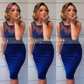 New Arrival Customer Made Beading Lace Satin Short Prom Dress 2017 Sexy Prom Dress vestido de fiesta (SL-P617)