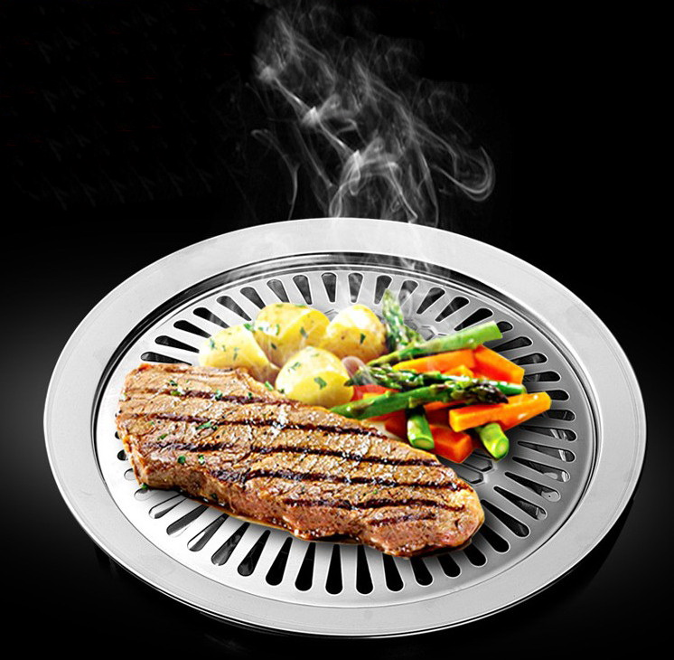 Smokeless Indoor Barbeque Grill Stainless Steel Thicken Barbecue Pans BBQ Roasting Grill Plate Indoor Cooking