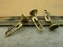 15pcs 10x24mm Antique Bronze Lovely Music Instrument Pin Trumpet Charm C4583