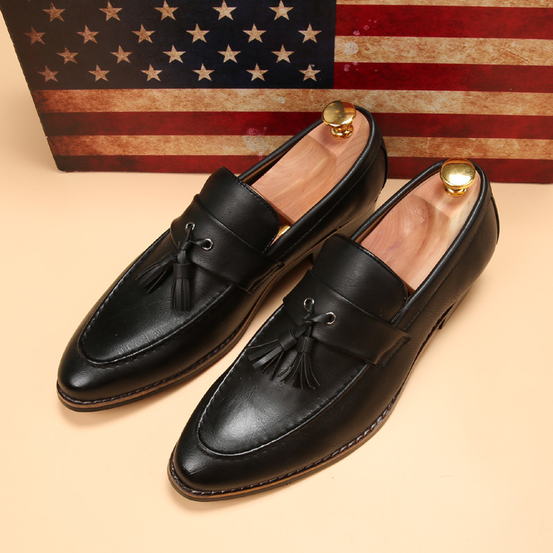 luxury brand mens pointed toe dress shoes famous loafer male gents formal wear ballet flats zapatos hombre oxford shoes for men  (13)