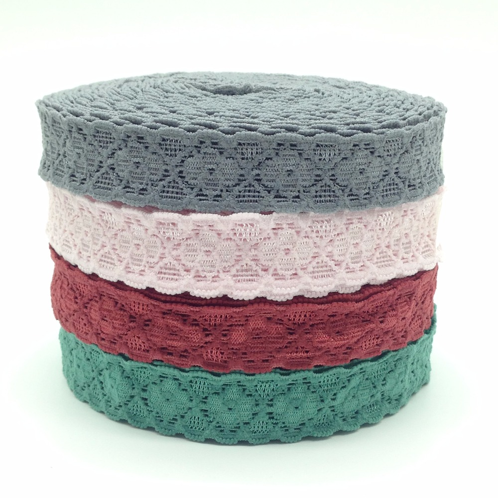 10 yards 4 Colors Good Elasticity 2cm Lace Elastic Trim High Quality Lace Ribbon for Headband DIY Head wear Hair Accessories