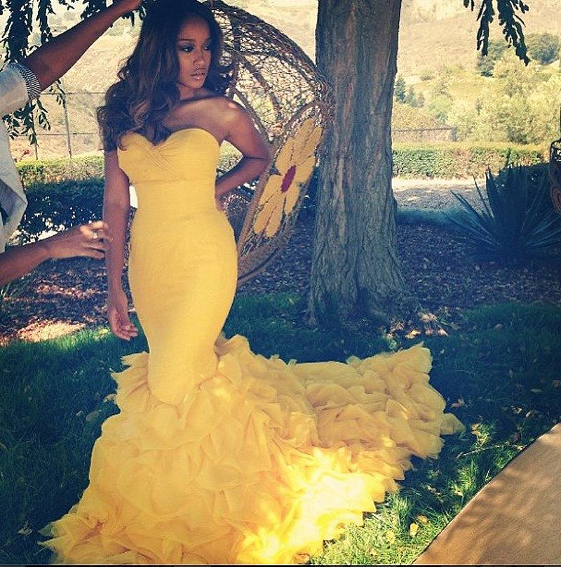 Glamorous Sweetheart Mermaid Evening Dresses Long Yellow Formal