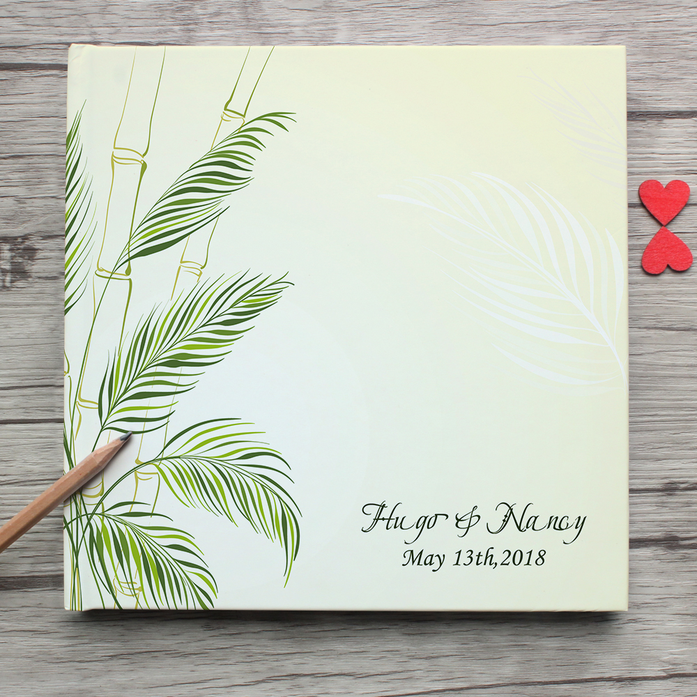 Custom White Wedding Guest Book,Spring Natural Leaves White Wedding Guest Book,Personalized Wedding Sign Alternative Photo Album