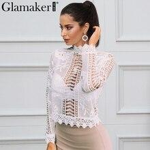 Glamaker сексуальные белая кружевная блузка рубашка Для женщин топы элегантный выдалбливают блузка летние топы женские блузки Длинные рукава blusas