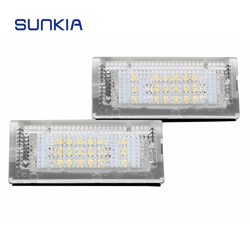 SUNKIA 2Pcs/Set Car LED Number License Plate Lights Lamp Bulb for 3 Series E46 4D (98-05) E46 5D (98-05) Touring Hot Selling hot 2pcs error free 3528 smd 18 led car led license number plate light lamp white for bmw e46 4d sedan 5d wagon 12v