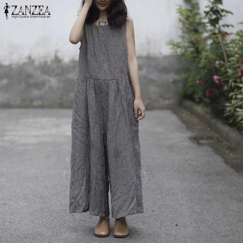 5c612bd6fd ... Summer Rompers ZANZEA Women Retro Plaid Check Loose Wide Leg Jumpsuits  Casual Sleeveless Cotton Linen Baggy ...