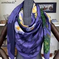 2019 duże chusty 130*130cm kobiety luksusowej marki chustka plac jedwabny szal nadrukowana moda hidżab kobiety szale szale hurtownie