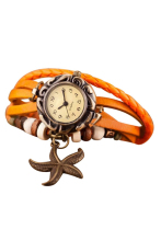 YCYS!Woman Girls Bracelet Starfish Decoration Wrist Watch -Orange