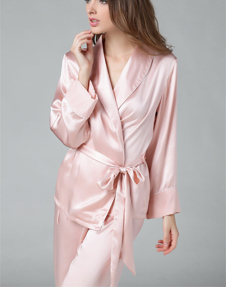 100% Pure Silk Women's   Pajama     Set   With Belt Sleepwear Nightgown M L XL YM008