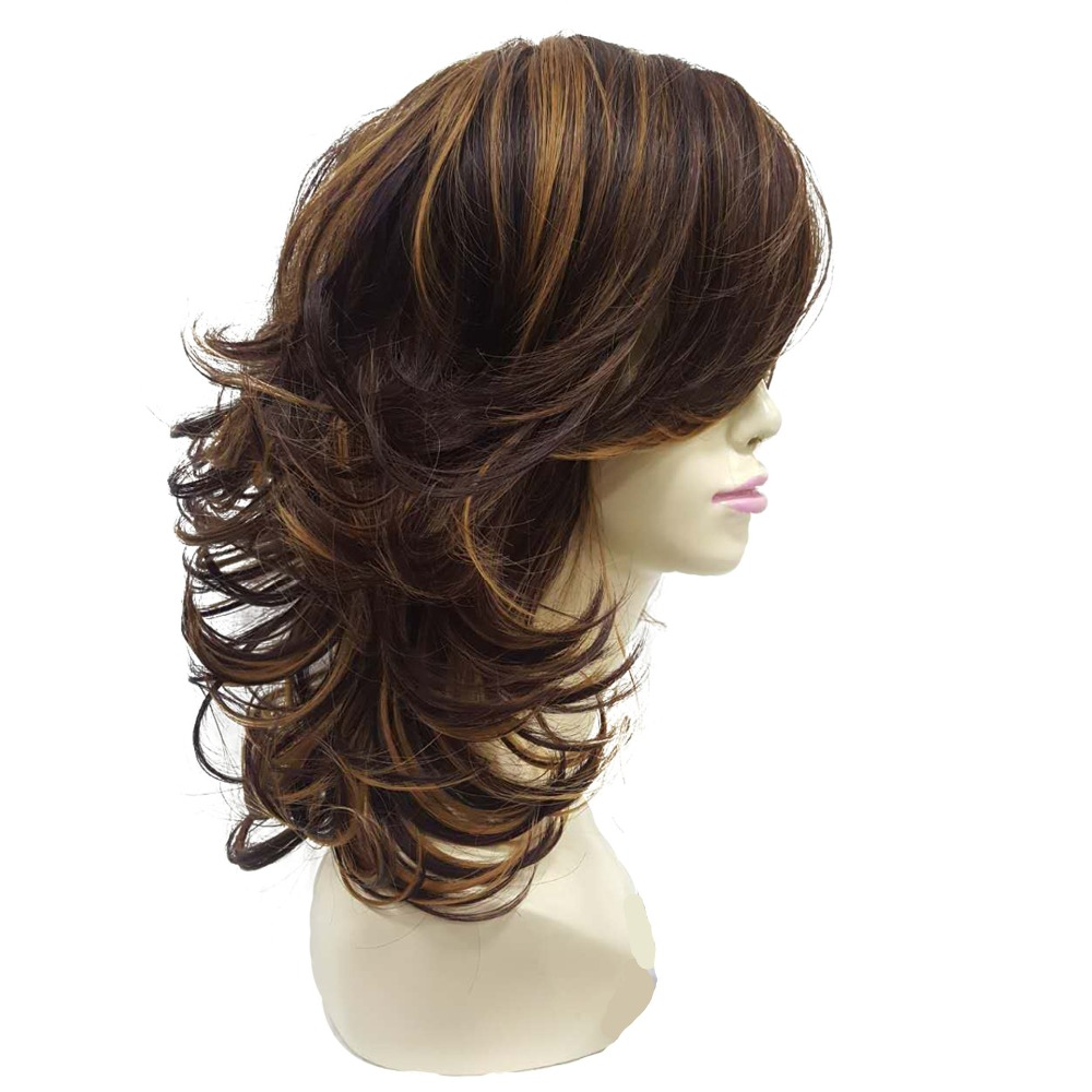 StrongBeauty Women's wig Auburn Layered Medium Curly Hairstyles For Thick Hair Synthetic Full Wigs