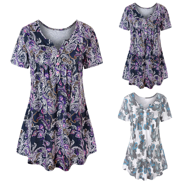 f384e8508 Plus Size 3XL Women Blouse Fashion Printed Short Sleeve Tunic Tops 2018  Summer Casual V-Neck Loose Ladies Tee Shirt Blusas Mujer