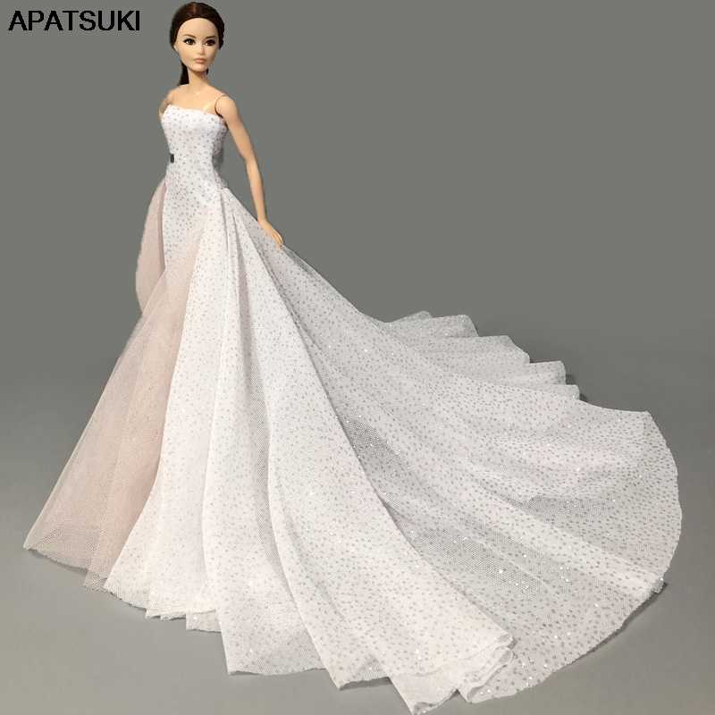 White High Fashion Wedding Dress for Barbie Doll Clothes Big Evening Dresses Party Gown Vestidoes Outfits 1/6 Doll Accessories