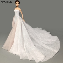 White High Fashion Wedding Dress for Barbie Doll Clothes Big