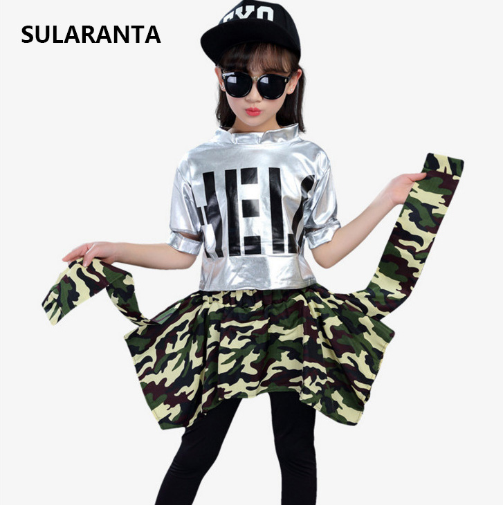 Girls Ballroom Modern Jazz Hip Hop Dance Competition Costume Set for Kid T Shirt Tops Pantskirt Dancing Clothing Outfits Clothes