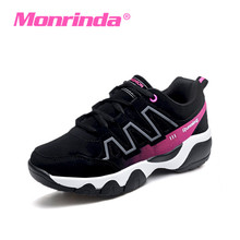 Monrinda Running Shoes Woman Non-slip Sport Cow Leather Armor Sneakers Brand Damping Road Trainers Zapatillas Gym Mujer