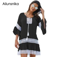 Ailunsnika 2018 New Arrival Summer Women S Sexy White Blue Black Loose Beach With Crochet Insert