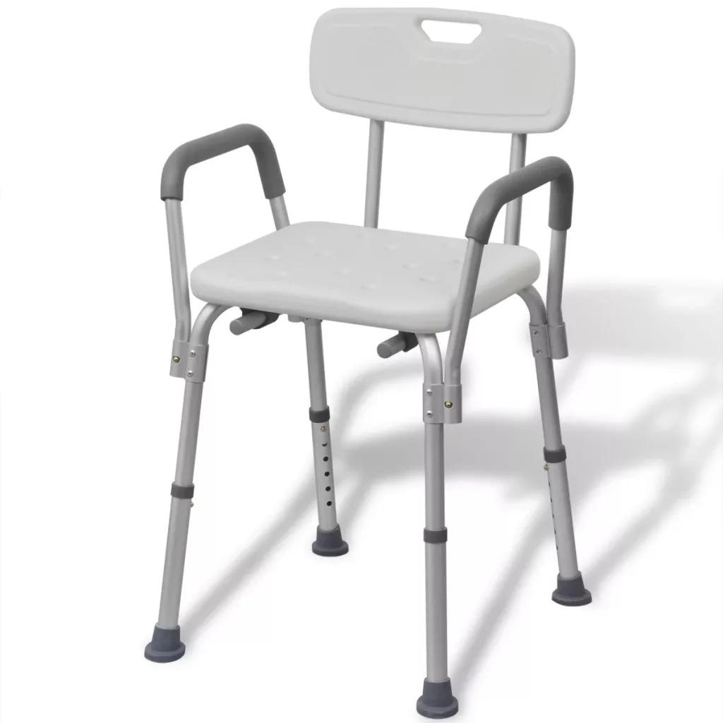 VidaXL Aluminium White Shower Chair With Drainage Holes Good