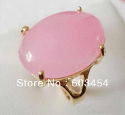 ร้อนขายโนเบิล-จัดส่งฟรี>>>@@เสน่ห์วงรีสีชมพูหยก18KGPแหวนขนาด: 6.7.8.9ผู้หญิงแหวน/ฟรีA