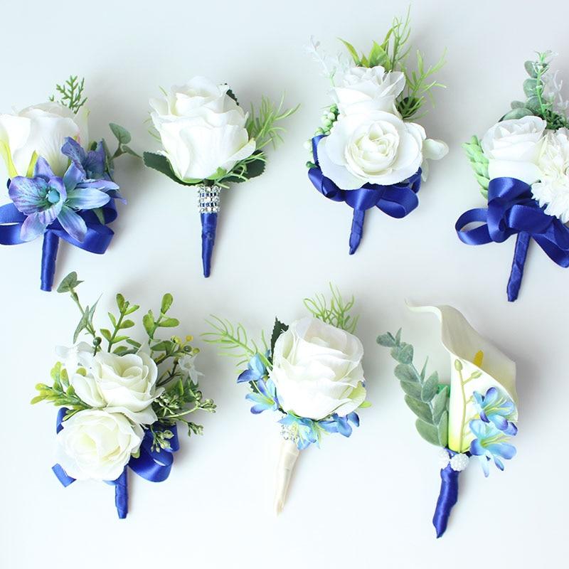 wedding boutonniere white blue groom suit decor (37)