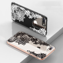 360 Full Shockproof Phone Case For iPhone 7 6 6s Plus Cases Black Lace Flower Silicone Cover For iPhone 8 Plus X Protective Case(China)