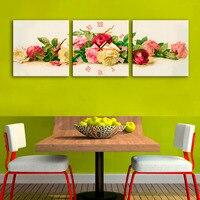 3 قطعة ملون روز زهور مع ساعة الحائط الفن مطبوعة قماش اللوحة غرفة المعيشة ديكور المنزل