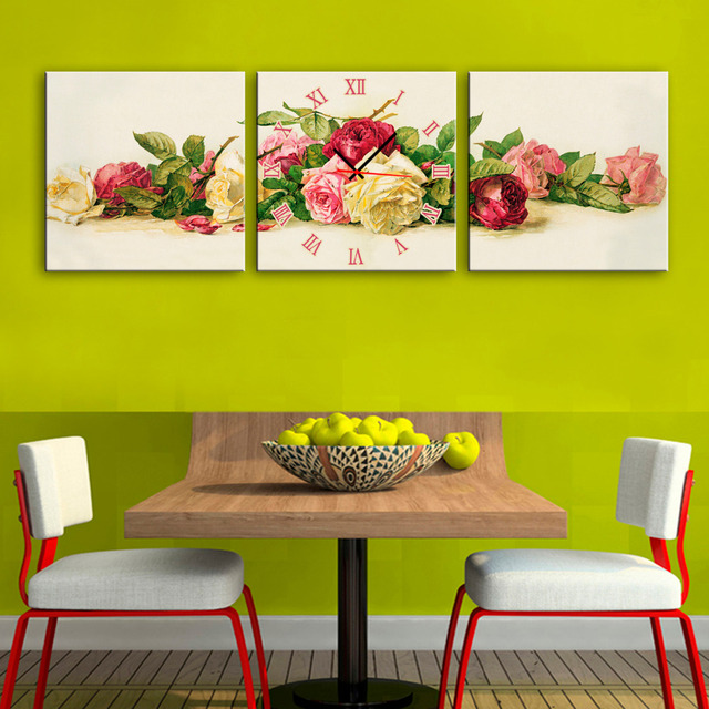 3 Piece Colored Rose Flowers With Clock Wall Art Printed Canvas ...