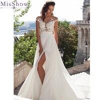 2018 Elegant A Line Lace Bodice Chiffon Skirt Sheer Back Wedding Dress Robe De Mariage Wedding Gown