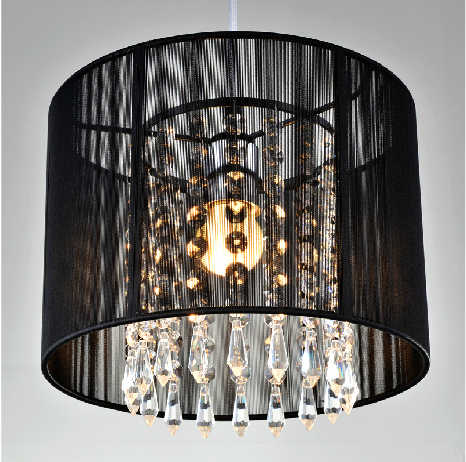 Modern crystal chandelier importers K9 crystal lustres de cristal fixture Black White fabric chandelier for living bedroom lamp
