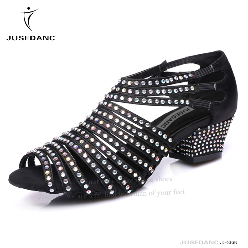 Square Dance Shoes For Women Ballroom Shoes Girls Latin Dance Shoes Salsa Shoes Rhinestone Slip On Soft Female JuseDanc