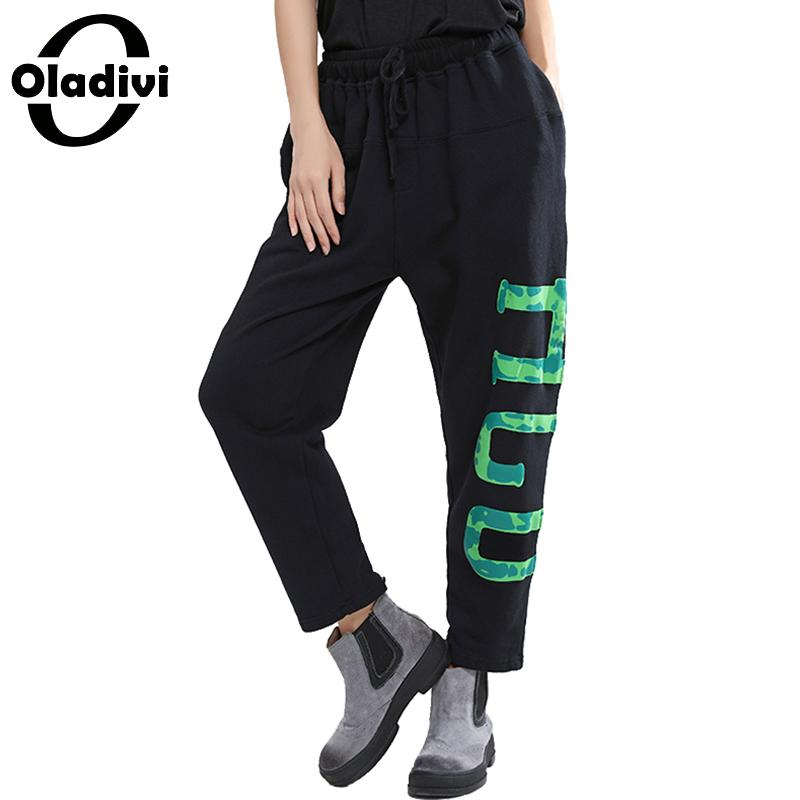 Oladivi Brand Plus Size Women Pants Casual Harem Pant Ladies Fashion Letter Print Trousers Ankle Length Capris Pantalones Black