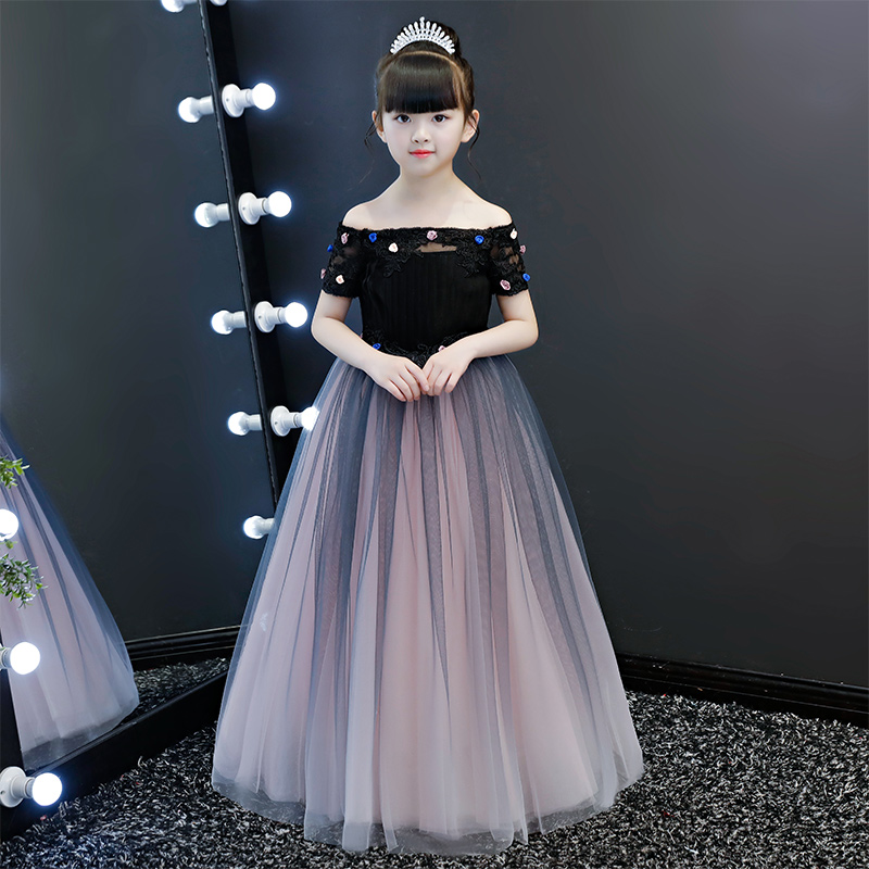 Shoulderless Flower Girl Dresses Floor Length Princess Prom Dress Appliques Kids Pageant Dress for Birthday Girls Evening DressShoulderless Flower Girl Dresses Floor Length Princess Prom Dress Appliques Kids Pageant Dress for Birthday Girls Evening Dress