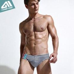 Новая летняя мужская одежда для плавания, спортивные мужские плавки, плавки с низкой посадкой, мужской купальник в полоску, мужской купальн... 3