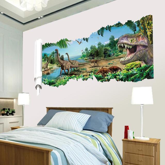 Dinosaurs Through Wall Stickers Juric Age Home Decoration Diy Cartoon Kids Room Boy Bedroom