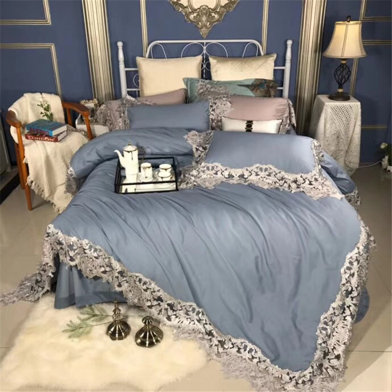 Solid Color Duvet Cover With Hollow Lace Embroidery 120S Egyptian Cotton Luxury Bedding Set Bed Sheet Set Queen King Size 4/5Pcs