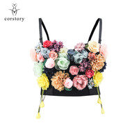 Victorian Black Cotton & Colorful Flower Push Up Sexy Bras For Women Bralette Top Dance Party Clubwear Gothic Plus Size Bra XXL