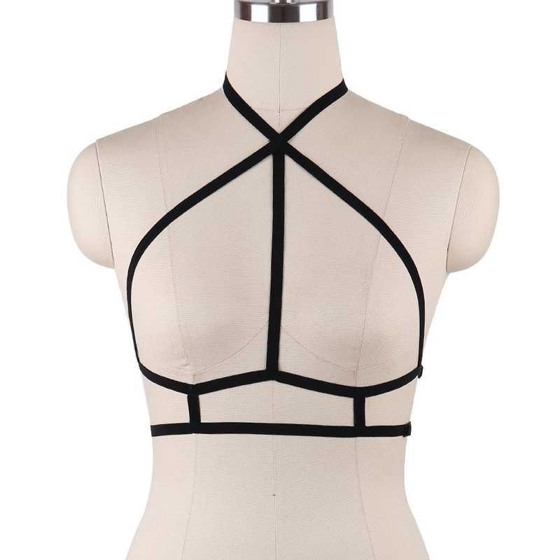 Регулируемый бюстгальтер с открытой грудной клеткой Женская фетиш одежда черная подпруга Harajuku укороченный топ-боди эластичный бондаж, БДСМ-белье DS035